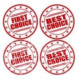 Round znaczki z tekstem: Pierwszy wybór, Najlepszy wybór, normalna i grunge, Fotografia Stock