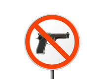 Round znak Żadny pistolet Zdjęcia Stock