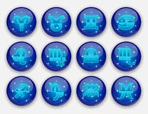 Round zodiac signs. Vector illustration royalty free illustration