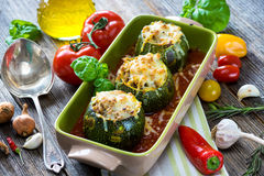Round zucchini stuffed with meat and  mozzarella Stock Photography