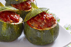 Round zucchini stuffed with meat Stock Image