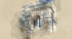 Roundabaut Arc de Triomphe στην πόλη του Παρισιού διανυσματική απεικόνιση