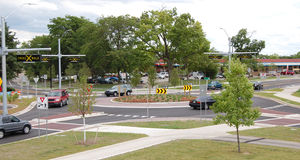 Roundabout. New roundabout with some cars, Ann Arbor, Michigan Stock Image