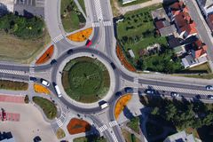Roundabout. With flowers in the town Stock Images