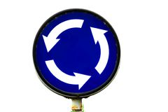 Roundabout. Traffic sign isolated on white Royalty Free Stock Image