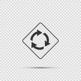 Roundabout ahead sign on transparent background stock illustration