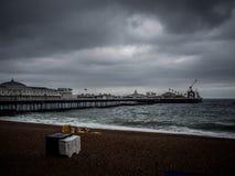 Roundabout on beach. Brighton Beach in the rain Royalty Free Stock Photo