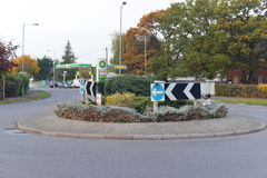 Roundabout on a British Road Stock Photo
