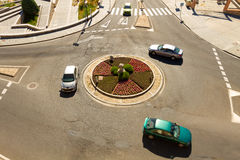 Roundabout. Cars in a roundabout in a high view Royalty Free Stock Photo