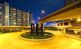 Roundabout in city at night Stock Photos