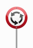 Roundabout crossroad on red traffic sign Royalty Free Stock Photo