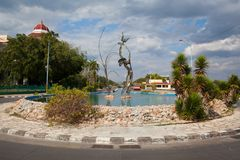 The roundabout at the end of Punta Gorda in Cienfuegos,Cuba. Cienfuegos, Cuba - January 28, 2017: The roundabout at the end of Punta Gorda close to beautiful Royalty Free Stock Photo