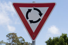 Roundabout,Give Way Road Sign. Roundabout, Give Way to the right Road Sign. New South Wales, Australia Stock Photo