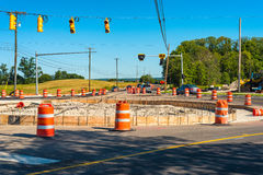 Roundabout installation. Construction of a new roundabout, or traffic circle, in a NE Ohio suburban intersection Royalty Free Stock Photo