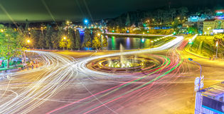 Roundabout intersections Dalat night market Royalty Free Stock Photo