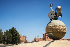 Roundabout and main street. View of the town of Ouazazarte Morocco Royalty Free Stock Photos