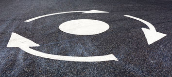 Roundabout marking on the road Royalty Free Stock Photos
