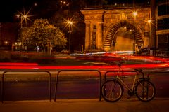 Roundabout at night in Budapest stock image