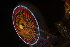 Roundabout on night Christmas market. Night view to roundabout on Christmas market in Brno, Moravsky square Stock Photography