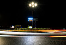 Roundabout by night stock photos