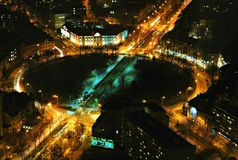 Roundabout. Night image roundabout, taken from SkyTower (Poland Royalty Free Stock Images