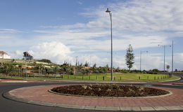 Roundabout at Ocean Drive Bunbury Western Australia. The traffic Roundabout at Ocean Drive Bunbury Western Australia is set in landscaped gardens with over head Royalty Free Stock Photos