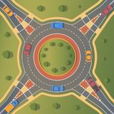 Roundabout road with car. Crossing of highways by type of ring intersection. Roundabout road with pedestrian paths, curbs and boards, road markings, grass stock illustration