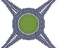 Roundabout road. Crossing of highways by type of ring intersection. Vector background royalty free illustration