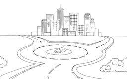 Roundabout road graphic black white landscape sketch illustration. Vector stock illustration
