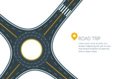 Roundabout road junction, isolated on white background. Stock Image