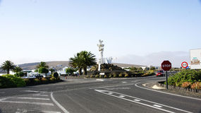 Roundabout with sculpture tribute to the peasant Stock Images