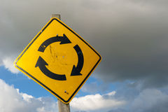 Roundabout sign storm clouds royalty free stock image