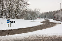 Roundabout in Snow Stock Images