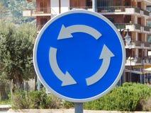 Roundabout traffic sign Stock Photo