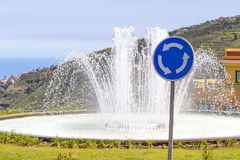 Roundabout traffic sign. Curved arch arrow elements Royalty Free Stock Image