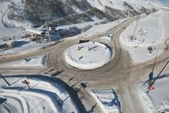 Roundabout in winter Royalty Free Stock Images