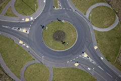 Roundabouts. Aerial view of a traffic roundabout with circles around the outside Royalty Free Stock Photo