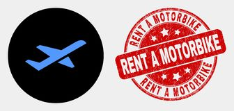Vector Airplane Takeoff Icon and Grunge Rent a Motorbike Stamp Seal. Rounded airplane takeoff icon and Rent a Motorbike seal. Red rounded grunge seal stamp with stock illustration