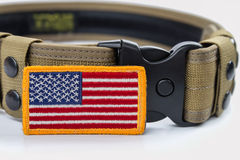 Rounded American flag patch and  tactical belt. Rounded American flag patch and  tactical belt concept for memorial day Royalty Free Stock Photography