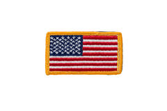 Rounded American flag patch. On white background Stock Photos