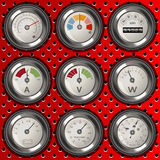 Rounded analog meters Stock Images
