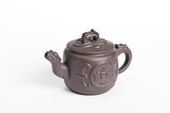 Rounded ancient chinese dark brown teapot Royalty Free Stock Photo