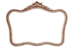 Rounded antique golden frame isolated on white Royalty Free Stock Photo