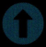 Rounded Arrow Composition Icon of Halftone Spheres. Halftone Rounded arrow collage icon of empty circles in blue color tones on a black background. Vector round stock illustration
