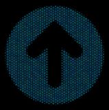 Rounded Arrow Composition Icon of Halftone Spheres. Halftone Rounded arrow mosaic icon of spheres in blue color tints on a black background. Vector bubble Royalty Free Stock Photos