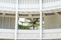 Rounded balconies in an interior of modern office building Stock Images