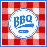 Rounded barbecue label on pattern background Stock Photo