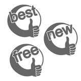 Rounded best choice symbols - new, best, free product Royalty Free Stock Photos