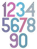 Rounded big colorful numbers with triple stripes Stock Photography