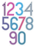 Rounded big colorful numbers with triple stripes on white Royalty Free Stock Photo